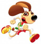 Funny dog is running. Vector and cartoon character. Object isolated
