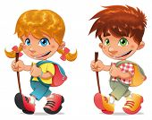 Trekking boy and girl. Funny vector and cartoon isolated characters.