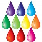Colección de gotas de color.