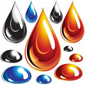 foto of drop oil  - Vector set of Oil and Water drops - JPG