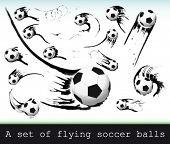 Vector Set of flying soccer balls.