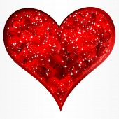 Big red glitter heart. Vector.