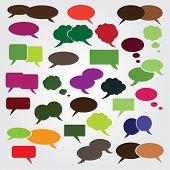 Sammlung von bunten Rede und Gedanken Blasen Hintergrund Vektor