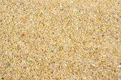 Close-up photo of clean golden beach sand texture