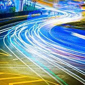 the light trails on the steet in shanghai china.