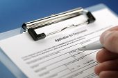 stock photo of differential  - Completing an employment application form - JPG