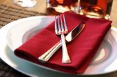 stock photo of stereotype  - Elegant table setting with fork - JPG