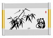 Vector Scroll of Chinese traditional painting,Bamboo and Panda. (the words in red seal means Be strict with oneself in solitude -- an ancient method of self-cultivation. )