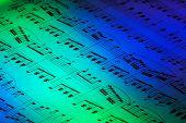 Folha de música com luz abstrata, Closeup.
