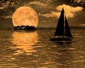 pic of sail-boats  - computer generated surreal night - JPG