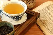 Chinese tea with vintage book