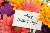 Mother's Day Concept-- Post card with colorful flowers background