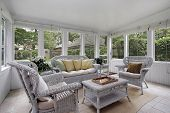 foto of screen-porch  - Porch with wicker furniture - JPG