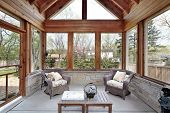 picture of screen-porch  - Porch with stone walls - JPG