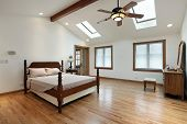 picture of master bedroom  - Master bedroom in luxury home with two skylights - JPG