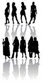Постер, плакат: Силуэты ретро девушки партия девочек танцы женщин