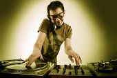 Dj playing disco house progressive electro music