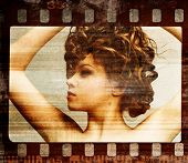 Grunge film frame. Retro shot. Fashion art photo