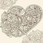Hand-Drawn Doodle Henna Heart Vector Illustration
