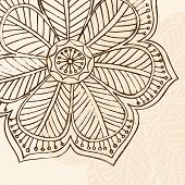 Hand-Drawn Sketchy Henna Doodle Flower Vector Illustration