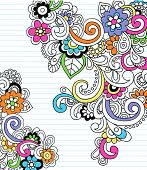 Paisley psicodélico Hand Drawn Notebook garabatos en papel rayado fondo - Vector Illustration