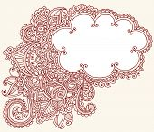 Handgetekende Cloud vormige Henna (mehndi) Paisley Doodle Vector Illustratie Design Element