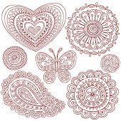 Hand-Drawn Henna (mehndi) Heart, Flower, Butterfly, and Paisley Doodle Vector Illustration Design El