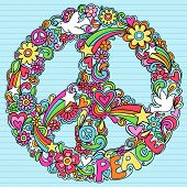 Hand-Drawn Psychedelic Groovy Peace Sign and Dove Notebook Doodles on Lined Sketchbook Paper Backgro
