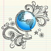 Hand-Drawn Back to School Geography Class Sketchy Notebook Doodles of a Planet Earth Globe with Swir