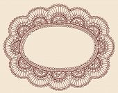 Hand-Drawn Lace Doilie Henna/Mehndi Paisley Doodle Vector Illustration Frame Border Design Element