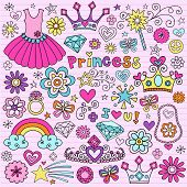 Hand-Drawn Princess Notebook Doodle Design Elements Set on Pink Lined Sketchbook Paper Background- V