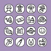 black and white icon set - kids objects