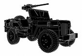 Постер, плакат: Army Jeep Vector 02 eps