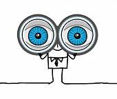 man with big eyes & binoculars