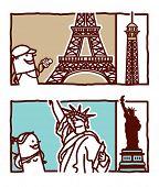 Torre Eiffel & estátua da liberdade