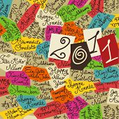 Happy new year sketchy colored background - 2011