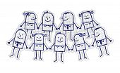 stock photo of cartoon people  - hand drawn cartoon characters on checked paper  - JPG