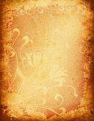 grunge floral frame design of an old paper