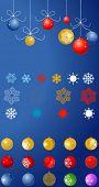 coleção de bolas de Natal e flocos de neve
