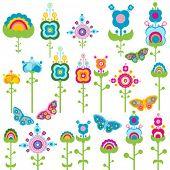 Постер, плакат: Цветы и бабочки Ретро элементов