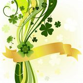 stock photo of four leaf clover  - design with four and three leaf clovers - JPG