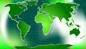 green world map with latitudinal and longitudinal lines