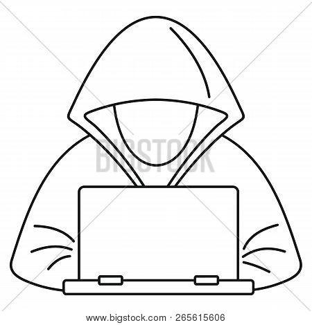 Hacker Laptop Icon Outline Illustration