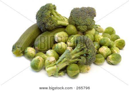 Постер, плакат: Зеленые овощи, холст на подрамнике