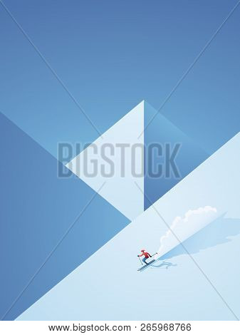 Winter Skiing Vector Poster With