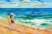 Man And Women Tourist On Beach. Colorful Oil Color Paintings Seascape On Canvas Colorful Of Beauty B poster