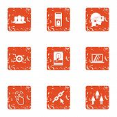 Leadership Icons Set. Grunge Set Of 9 Leadership Vector Icons For Web Isolated On White Background poster
