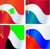 Collection Of Vector Illustrations Of Flags Of Lebanon,  Netherlands, Russia, United Arab Emirates