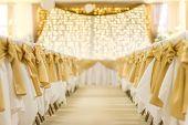 Wedding, Decoration, Wedding Setup. Golden Lights And Blurred Bokeh Background. Elegant And Romantic poster