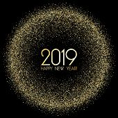 Premium 2019 Happy New Year Card, Gold Confetti. 2019 Holiday Card, Banner Or Party Poster Design Wi poster